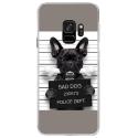 CRYSGALAXYS9DOGPRISONOS - Coque rigide transparente pour Samsung Galaxy S9 avec impression Motifs bulldog prisonnier os