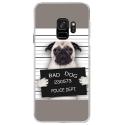 CRYSGALAXYS9DOGPRISONTRISTE - Coque rigide transparente pour Samsung Galaxy S9 avec impression Motifs bulldog prisonnier