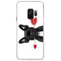 CRYSGALAXYS9DOGVALENTIN - Coque rigide transparente pour Samsung Galaxy S9 avec impression Motifs bulldog valentin