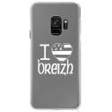 CRYSGALAXYS9DRAPBREIZH - Coque rigide transparente pour Samsung Galaxy S9 avec impression Motifs drapeau Breton I Love Breizh