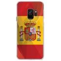 CRYSGALAXYS9DRAPESPAGNE - Coque rigide transparente pour Samsung Galaxy S9 avec impression Motifs drapeau de l'Espagne