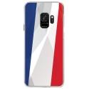 CRYSGALAXYS9DRAPFRANCE - Coque rigide transparente pour Samsung Galaxy S9 avec impression Motifs drapeau de la France