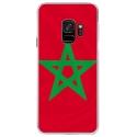 CRYSGALAXYS9DRAPMAROC - Coque rigide transparente pour Samsung Galaxy S9 avec impression Motifs drapeau du Maroc