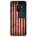 CRYSGALAXYS9DRAPUSAVINTAGE - Coque rigide transparente pour Samsung Galaxy S9 avec impression Motifs drapeau USA vintage