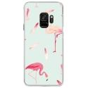 CRYSGALAXYS9FLAMANT - Coque rigide transparente pour Samsung Galaxy S9 avec impression Motifs flamants roses