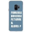 CRYSGALAXYS9FUMEUSEBLEU - Coque rigide transparente pour Samsung Galaxy S9 avec impression Motifs fumeuse et alors bleu