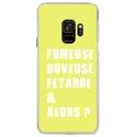 CRYSGALAXYS9FUMEUSEJAUNE - Coque rigide transparente pour Samsung Galaxy S9 avec impression Motifs fumeuse et alors jaune