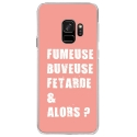 CRYSGALAXYS9FUMEUSEROSE - Coque rigide transparente pour Samsung Galaxy S9 avec impression Motifs fumeuse et alors rose
