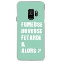 CRYSGALAXYS9FUMEUSETURQUOISE - Coque rigide transparente pour Samsung Galaxy S9 avec impression Motifs fumeuse et alors turquoise