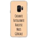 CRYSGALAXYS9GENIALEBEIGE - Coque rigide transparente pour Samsung Galaxy S9 avec impression Motifs Chiante mais Géniale beige