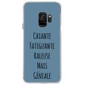 CRYSGALAXYS9GENIALEBLEU - Coque rigide transparente pour Samsung Galaxy S9 avec impression Motifs Chiante mais Géniale bleu