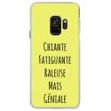 CRYSGALAXYS9GENIALEJAUNE - Coque rigide transparente pour Samsung Galaxy S9 avec impression Motifs Chiante mais Géniale jaune