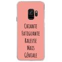 CRYSGALAXYS9GENIALEROSE - Coque rigide transparente pour Samsung Galaxy S9 avec impression Motifs Chiante mais Géniale rose
