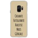 CRYSGALAXYS9GENIALETAUPE - Coque rigide transparente pour Samsung Galaxy S9 avec impression Motifs Chiante mais Géniale taupe
