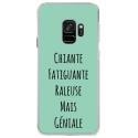 CRYSGALAXYS9GENIALETURQUOISE - Coque rigide transparente pour Samsung Galaxy S9 avec impression Motifs Chiante mais Géniale turquo