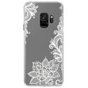 CRYSGALAXYS9LACEBLANC - Coque rigide transparente pour Samsung Galaxy S9 avec impression Motifs Lace blanc