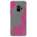 CRYSGALAXYS9LACEFUSHIA - Coque rigide transparente pour Samsung Galaxy S9 avec impression Motifs Lace fushia