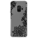 CRYSGALAXYS9LACENOIR - Coque rigide transparente pour Samsung Galaxy S9 avec impression Motifs Lace noir