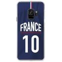 CRYSGALAXYS9MAILLOTFRANCE - Coque rigide transparente pour Samsung Galaxy S9 avec impression Motifs Maillot de Football France