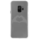 CRYSGALAXYS9MAINCOEUR - Coque rigide transparente pour Samsung Galaxy S9 avec impression Motifs mains en forme de coeur