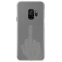 CRYSGALAXYS9MAINDOIGT - Coque rigide transparente pour Samsung Galaxy S9 avec impression Motifs doigt d'honneur