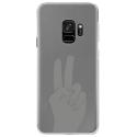 CRYSGALAXYS9MAINPEACE - Coque rigide transparente pour Samsung Galaxy S9 avec impression Motifs main Peace and Love