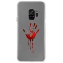 CRYSGALAXYS9MAINSANG - Coque rigide transparente pour Samsung Galaxy S9 avec impression Motifs main ensanglantée