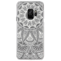 CRYSGALAXYS9MANDALABLANC - Coque rigide transparente pour Samsung Galaxy S9 avec impression Motifs Mandala blanc