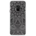 CRYSGALAXYS9MANDALANOIR - Coque rigide transparente pour Samsung Galaxy S9 avec impression Motifs Mandala noir
