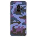 CRYSGALAXYS9MILITAIREBLEU - Coque rigide transparente pour Samsung Galaxy S9 avec impression Motifs Camouflage militaire bleu