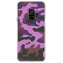 CRYSGALAXYS9MILITAIREROSE - Coque rigide transparente pour Samsung Galaxy S9 avec impression Motifs Camouflage militaire rose