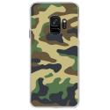 CRYSGALAXYS9MILITAIREVERT - Coque rigide transparente pour Samsung Galaxy S9 avec impression Motifs Camouflage militaire vert