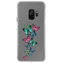 CRYSGALAXYS9PAPILLONS - Coque rigide transparente pour Samsung Galaxy S9 avec impression Motifs papillons colorés