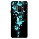CRYSGALAXYS9PAPILLONSBLEUS - Coque rigide transparente pour Samsung Galaxy S9 avec impression Motifs papillons bleus