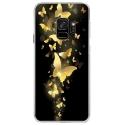 CRYSGALAXYS9PAPILLONSDORES - Coque rigide transparente pour Samsung Galaxy S9 avec impression Motifs papillons dorés