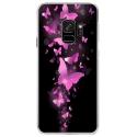CRYSGALAXYS9PAPILLONSFUSHIAS - Coque rigide transparente pour Samsung Galaxy S9 avec impression Motifs papillons fushias