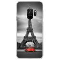 CRYSGALAXYS9PARIS2CV - Coque rigide transparente pour Samsung Galaxy S9 avec impression Motifs Paris et 2CV rouge