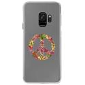 CRYSGALAXYS9PEACELOVE - Coque rigide transparente pour Samsung Galaxy S9 avec impression Motifs Peace and Love fleuri