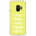 CRYSGALAXYS9RAISONJAUNE - Coque rigide transparente pour Samsung Galaxy S9 avec impression Motifs marre d'avoir raison jaune