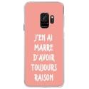 CRYSGALAXYS9RAISONROSE - Coque rigide transparente pour Samsung Galaxy S9 avec impression Motifs marre d'avoir raison rose