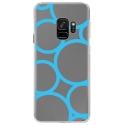 CRYSGALAXYS9RONDSBLEUS - Coque rigide transparente pour Samsung Galaxy S9 avec impression Motifs ronds bleus