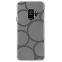 CRYSGALAXYS9RONDSGRIS - Coque rigide transparente pour Samsung Galaxy S9 avec impression Motifs ronds gris