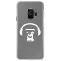 CRYSGALAXYS9SINGECASQ - Coque rigide transparente pour Samsung Galaxy S9 avec impression Motifs singe avec son casque