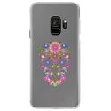CRYSGALAXYS9SKULLFLEUR - Coque rigide transparente pour Samsung Galaxy S9 avec impression Motifs crâne en fleurs