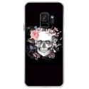 CRYSGALAXYS9SKULLFLOWER - Coque rigide transparente pour Samsung Galaxy S9 avec impression Motifs skull fleuri