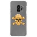 CRYSGALAXYS9SKULLOR - Coque rigide transparente pour Samsung Galaxy S9 avec impression Motifs tête de mort aspect or