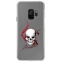 CRYSGALAXYS9SKULLTRIBAL - Coque rigide transparente pour Samsung Galaxy S9 avec impression Motifs tête de mort sur fond triba