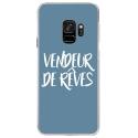 CRYSGALAXYS9VENDREVEBLEU - Coque rigide transparente pour Samsung Galaxy S9 avec impression Motifs vendeur de rêves bleu