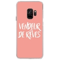 CRYSGALAXYS9VENDREVEROSE - Coque rigide transparente pour Samsung Galaxy S9 avec impression Motifs vendeur de rêves rose