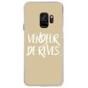 CRYSGALAXYS9VENDREVETAUPE - Coque rigide transparente pour Samsung Galaxy S9 avec impression Motifs vendeur de rêves taupe